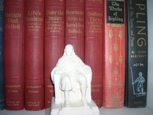 Freemason's Ben Franklin with author Rudyard Kipling books in background.